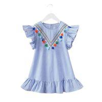 2018 Nuove ragazze estive Dress Dress Tassel Volaning Sleeve Stripe Bitton Bambini Top O-Neck Fashion Princess Dress Bambini Vestiti estivi