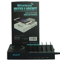 6 في 1 متعدد الشحن سطح المكتب Qi اللاسلكي محطة الشحن شاحن متعدد حامل قفص الاتهام مع 5 منافذ USB لفون X / 8/8 زائد / 7 / زائد باد