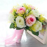 Mingli Tengda Bouquet De Mariage Rose À La Main Artificielle Fleur De Mariée Bouquet De Rose Casamento Bouquet De Mariage pour Demoiselles D'honneur ramos de novia