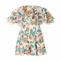 Trendy Women Romper Floral Bodysuit Summer off shoulder Ruff...