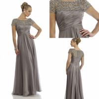 Vintage schiere Kristall Chiffon Mutter der Braut Bräutigam Kleider für Hochzeit Kurzarm Strass Rüschen Empire Scoop Ausschnitt Abendkleider