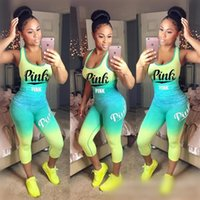 Gradient Pink Letter Printed 2PCS Tracksuit Sleeveless Vest ...