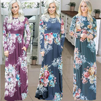 25e0ca599e9a Wholesale ladies evening dresses for sale - Floral Long Sleeve Dress Women  Print Boho Dress Lady