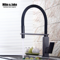 New black pull down kitchen faucet square brass kitchen mixe...
