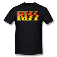 Mix ordine Mens 100 Cotton Rock Band Kiss Logo T Shirt T Shirt Mens girocollo maniche corte blu scuro Camicie T Shirt da uomo 5XL