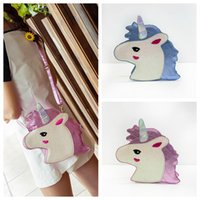 Unicorn Mini Messenger Clutch Bags PU Leather Laser Girls Cr...