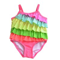 Nya Ankomst Tjejer Badkläder Barn Rainbow Suspender One Piece Layered Swimming Swimming Suit Fashion Kids Beach Wear
