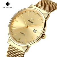 d9a17feba9d Moda Casual relógio de Quartzo Homens de Luxo da marca WWOOR Relógios Homens  de Aço Inoxidável
