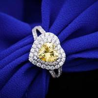 Toptan Gümüş Kalp Yüzük Splendid 2CT Kalite Beyaz Altın Renk Güvenilir Sentetik Sarı Elmas Yüzük Kadınlar Düğün Takı