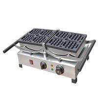 BEIJAMEI Paslanmaz çelik ticari waffle makinesi, elektrikli döner Belçika waffle makinesi, kare şekli gözleme yapma makinesi