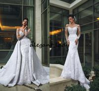 Langarm Meerjungfrau Brautkleider mit abnehmbarer Zug 2019 volle Spitze Applique Sexy Garten Trompete Braut Hochzeitskleid