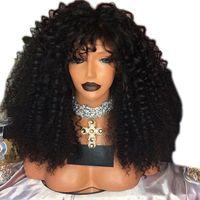 schwarze braune blonde Farbe Hitzebeständige Haar-Faser verworrene lockige Afro Perücke volle 180 Dichte synthetische Lace Front Perücken für afrikanische Amerikaner