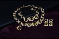 Moda Kız Kolye Küpe Yüzük Bilezik Takı Lüks Moda Yeşil Taş 18K Altın Kaplama Alaşım 4 Parçalı Set Gelin Düğün Takı