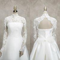Свадебная кружевная куртка с высоким воротником с длинными рукавами с длинными рукавами Аппликации обертываются свадебные болеро для свадебных платьев на заказ Высококачественная куртка