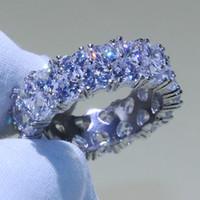 Tamaño 5-10 Lotes de Stock Joyería de Lujo 925 Sterling Silver Forma de Calor Completo 5A Cubic Zirconia Stack Party Mujeres Wedding Band Ring para amantes
