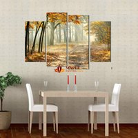 4 Panels Large Canvas Wall Art Painting Autumn Landscape Pic...