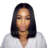Brezilyalı Bakire Olmayan Simülasyon Saç Peruk 100% İnsan Saç Dantel Ön Peruk Tutkalsız Kısa Bob Saç Peruk Siyah Kadınlar Için Doğal Doğru