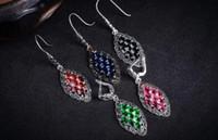 """Shippig gratis 5 opciones Pendientes genuinos de plata 925 con incrustaciones de estilo de arte de cristal 925 """""""