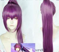 Anime Fate Grand Order FGO Scathach Pferdeschwanz Cosplay Perücke Dark Purple langes Haar