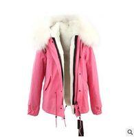 Tempo frio casacos de neve Jazzevar marca guaxinim Branco guarnição de pele de coelho forro de pele rosa casacos de pele parkas Austrália nova Zelândia