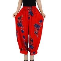 Plus Taille Casual Casual Vintage Vintage Coton Harem Pantalons Pantalons Femmes Elastic Taille High Taille Élastique Pantalons Femmes Pantalons LQ0026