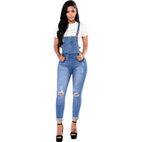 Designer Women Jeans Suspender Clothes Skinny Ripped Fashion...