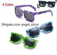 2021 Gafas de sol de mosaico Vintage Cuadrado Novedad Pixel Gafas de sol Niños y adultos Minículos de moda Gafas 4 colores 100pcs