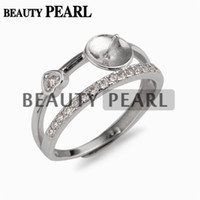 5 Pieces Double Band Ring Settings with Little Heart Zircons...
