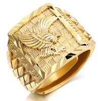 Anello da uomo di lusso Punk Rock Eagle Luxury color oro ridimensionabile a 7-11 Finger Jewelry Never Fade