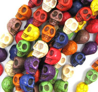 Multi colore 40pcs / lot 1 Stringa 10 millimetri COLORATI grani di pietra del cranio del turchese branelli allentati naturali per fare gioielli fai da te