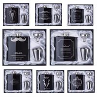 2017 خصم وصيف هدية شخصية محفورة 6 أوقية الورك قارورة الفولاذ الصلب مع أبيض أسود مربع هدية عرس الحسنات
