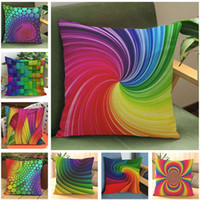 New Rainbow Color Linen Cotton Throw Pillow Covers 45*45 CM ...