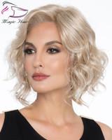 Evermagic dalgalı bob saç kesim ışık sarışın tam dantel peruk 130% yoğunluk remy İnsan saç kadınlar için yüksek kaliteli Brezilyalı bob peruk