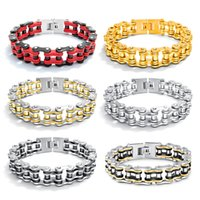 Cool Men Stainless Steel Motorcycle Bicycle Chain Cuff Bangl...