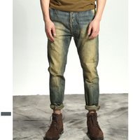 New Stonewashing jeans for men Distressed Moto Biker Denim b...