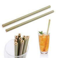 Paille de bambou 100% naturelle 23cm Paille de boisson réutilisable Boissons écologiques Straws Nettoyant Brush pour Barre de mariage à la maison Outils buvables