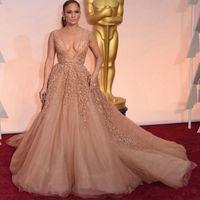 Jennifer Lopez Robe de soirée Oscar Celebrity col en V profond strass Tapis rouge robes 88e Oscar Robes de bal DH1000