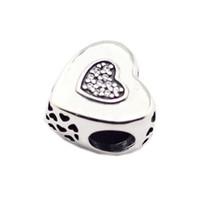 İmza Kalp Şekli Boncuk Ajur Boncuk Kadın DIY Takı Yapımı Için Gümüş Takılar Fit Orijinal 925 Gümüş Takılar Bilezik Bileklik