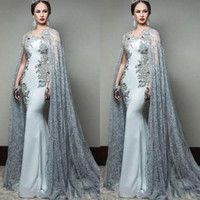 Newest 2018 Abric Mermaid Prom Dresses With Cape Sleeve Jewe...