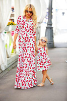 Mother daughter dresses Cherry 2017 Print dress Family Match...
