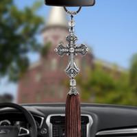 Metal Ve Kristal Elmas Çapraz İsa Hıristiyan Araba Dikiz Aynası Araba Kolye Noel Hediyesi Araba Styling Süs
