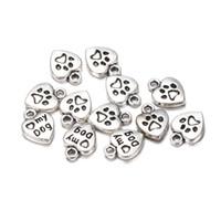 """100 adet / grup 10 * 13mm antik gümüş retro oyulmuş """"benim köpek"""" kalp charm takı el yapımı takı Aksesuarları için toptan"""