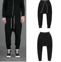RO Style Harem Pants Mens Black Casual Loose Pantalones largos Spring Summer Sports Jogger Pants Cross-Pants