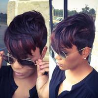 Новый монолитным новый стильный Афро-Американский парик короткий прямой довольно mix цвет синтетические волосы косплей парик / полный парики на складе