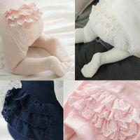 Baby Girls Cotton Tights Calze di pizzo Slim Pants Pantyhose PP Bottoms Slip Bebe Infantil Bambini Abbigliamento Primavera e autunno