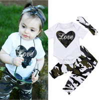 Newborn Baby Girl Camouflage LOVE Romper+ Pants+ Headband 3Pcs...
