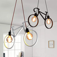 Retro Nordic Modern Bicycle Chandelier Cafe Café LED LED Barra de techo Lámpara de techo Dormitorio Droplight Store Decoración del hogar Regalo Luces colgantes