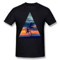 Best Choice Mens Tessuto 100% cotone Palms e Sunset Triangle Tee Shirt Uomo O-Neck Grigio T-shirt maniche corte Taglie forti Tee Shirt normale