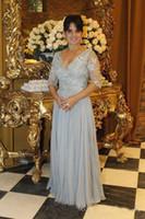 Vestidos de la madre de la novia de color gris plateado largo 2017 Appliques vestidos de noche de la gasa vestidos del partido tamaño personalizado vestido de invitados de la boda