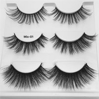 3 Pairs set 3D Eyelashes 3 Styles False Eyelash Mixed Eye Ma...